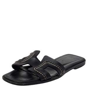 Hermes Black Leather Oran Stitched Flat Slide Size 35.5