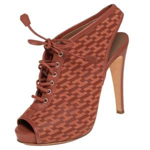 Hermes Brown Perforated Leather Garrigue Open Toe Booties Size 38