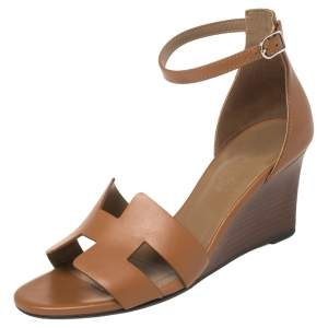 Hermes Brown Leather Legend Wedge Sandals Size 36