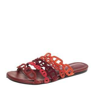 Hermes Multi Rouge Suede D'ancre Chaine Slide Sandals Size 37