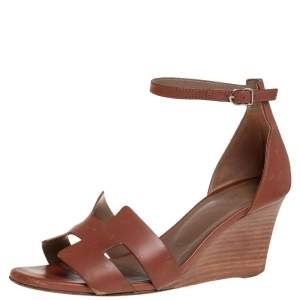 Hermes Brown Leather Legend Wedge Ankle Strap Sandals Size 39