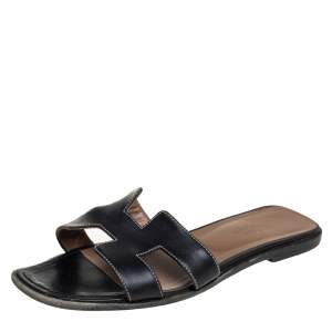 Hermes Black Leather Oran Sandals Size 38.5