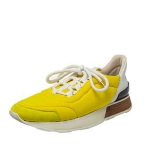 حذاء رياضي هيرمس سويدي ونايلون أصفر عنق منخفض مقاس 38