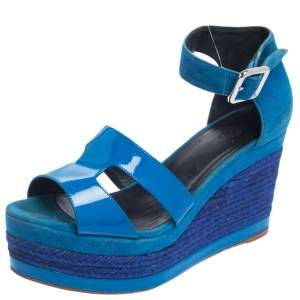 Hermes Blue Suede And Patent Leather Ilana Espadrille Wedge Sandals Size 38