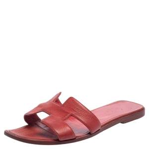 Hermes Rouge Taurillon Clemence Leather Oran Flats Size 40