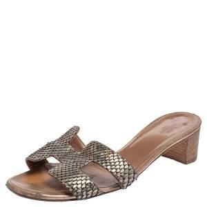 Hermes Metallic Python Leather Oasis Slide Sandals Size 39.5
