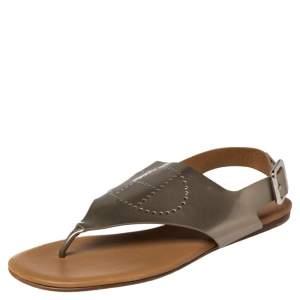Hermès Grey Patent Leather Kola Thong Flat Slingback Sandals Size 38