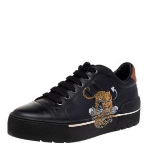 حذاء رياضي هيرمس جلد بطبعة الغابة أسود بعنق منخفض مقاس 39.5