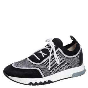 Hermes Black/White Suede And Knit Fabric Addict Sneakers Size 37