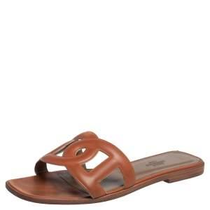 Hermès Brown Leather Aloha Flat Slides Size 37