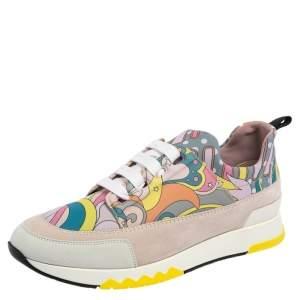 حذاء رياضي هيرمس ستاديوم سويدي وكانفاس مطبوع متعدد الألوان عنق منخفض مقاس 37