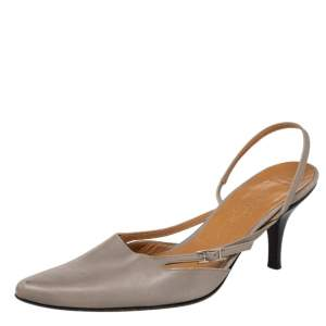 Hermes Grey Leather Pointed Toe Silngback Sandals Size 37.5