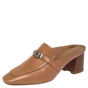 Hermes Brown Leather Blossom Mules Size 40.5