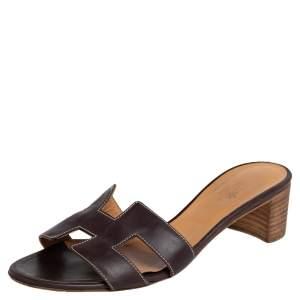 Hermes Dark Brown Leather Oasis Slide Sandals Size 38.5