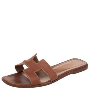 Hermes Brown Leather Oran Flat Slides Size 40