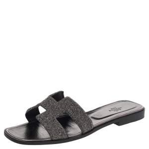 Hermes Black Glitter Oran Sandals Size 40