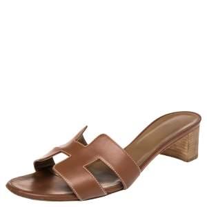 Hermes Brown Leather Oasis Slide Sandals Size 41