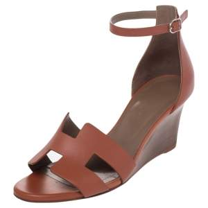 Hermes Brown Leather Legend Ankle Strap Wedge Sandals Size 38