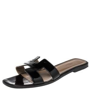 Hermes Black Patent Leather Oran Slide Flats Size 40.5