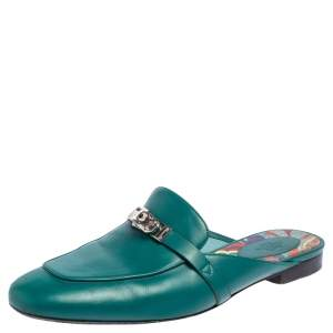 Hermes Green Leather Palladium Plated Oz  Flat Mules Size 40