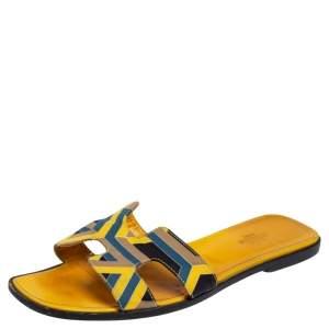 Hermes Multicolor Fabric Oran Flats Size 40