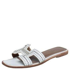 Hermes White Leather Studded Oran Flats Size 37.5