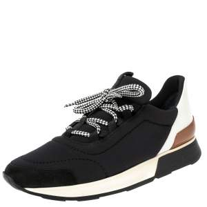Hermés Black/White Fabric And Leather Miles Low Top Sneakers Size 38