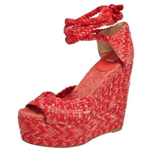 Hermes Red/Pink Leather And Suede  Epice Tresse Espadrille Wedge Sandals Size 39
