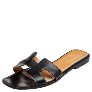 Hermes Black Leather Oran Sandals Size 39.5