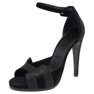 Hermes Black Suede Embellished Ankle Strap Sandals Size 38.5