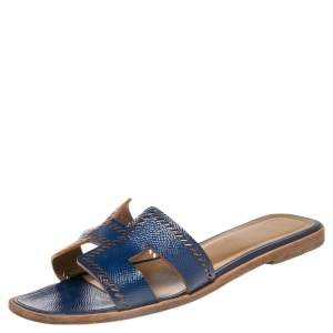 Hermes Blue Perforated Leather Oran  Sandals Size 37