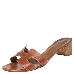 Hermes Brown  Leather Oasis  Sandals Size 36.5