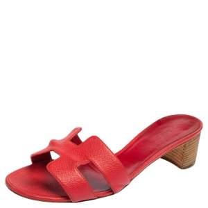 Hermes Rose Epsom Leather Oasis Slide Sandals Size 38