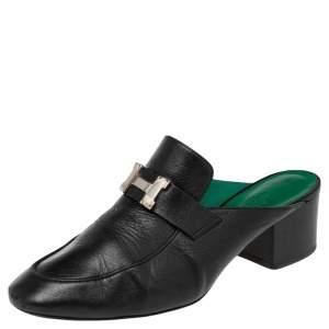Hermes Black Leather Tuileries Block Heel Mules Size 38.5