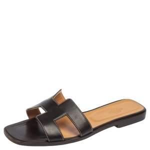 Hermès Chocolate Brown Leather Oran Flat Slides Size 39