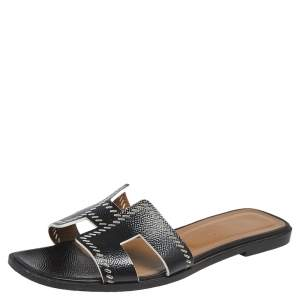 Hermes Black Textured Leather Cut Out Detail Oran Sandals Size 39