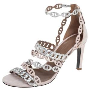 Hermes Silver/Beige  Suede And Leather Chaine D'Ancre Sandals  Size 37