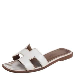 Hermes White Leather Oran Flat Sandals 35