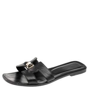 حذاء سلايد هيرمس فلات ميدور بيراميد أوران جلد أسود مقاس 38.5