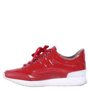 Hermes Red Patent Leather Goal Sneakers Size 36