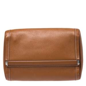Hermes Cognac Courchevel Leather Toiletry Case
