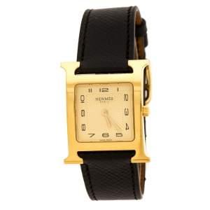 ساعة يد نسائية هيرمس هيوري أتش ستانلس ستيل مطلي ذهب أصفر 26 مم