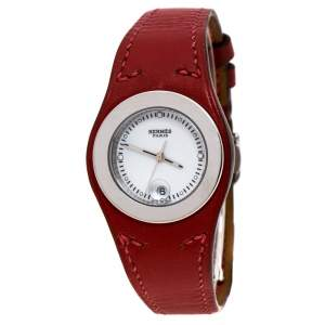 Hermes White Stainless Steel Red Leather Harnais HA3.210 Women's Wristwatch 27.50 cm