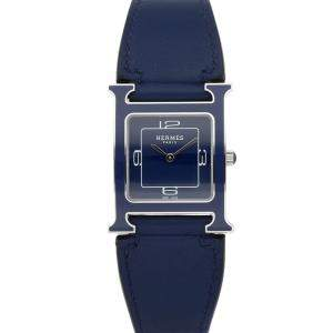 Hermes Blue Lacquered Stainless Steel Heure H W046333WW00 Women's Wristwatch 26 x 26 MM