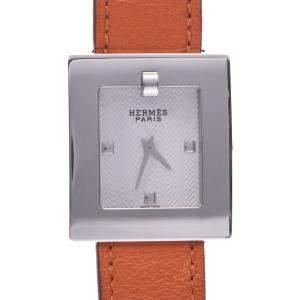 Hermes White Stainless Steel Belt BE1.110 Quartz Women's Wristwatch 25 MM