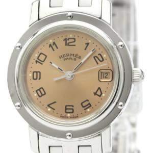 Hermes Orange Stainless Steel Clipper Cl4.210 Quartz Women's Wristwatch 24 MM