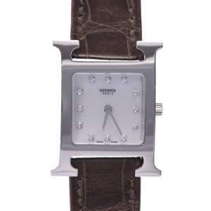 ساعة يد نسائية هيرمس كواترز أتش أتش1.210 ستانلس ستيل ألماس صدف 30 مم