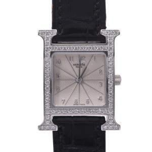 Hermes Silver Diamonds Stainless Steel Heure H HH1.230 Quartz Women's Wristwatch 21  MM