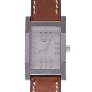 Hermes Silver Stainless Steel Tandem De Bourtour TA1.210 Quartz Women's Wristwatch 29 MM