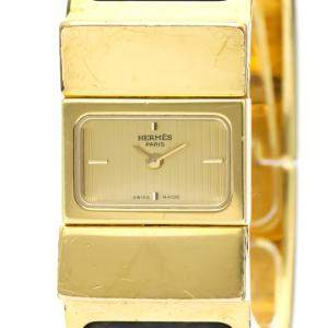 Hermes Champagne Gold Plated Stainless Steel Loque Quartz LO1.201 Women's Wristwatch 20 MM